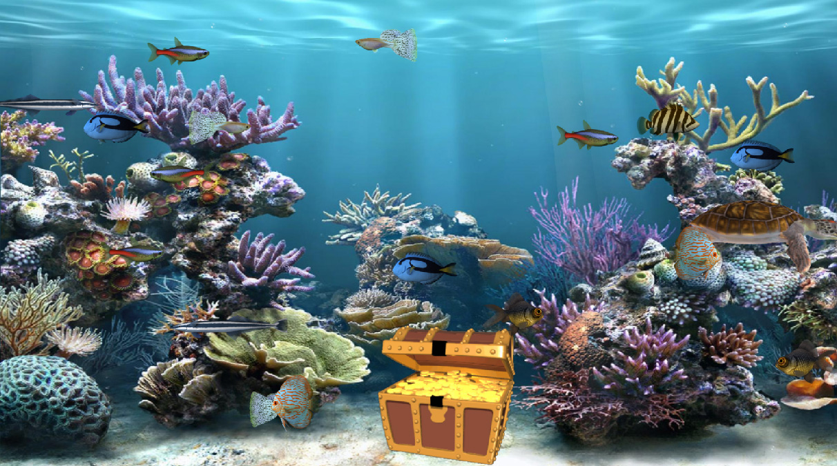 Clear aquarium animated wallpaper for Desktop fish tank