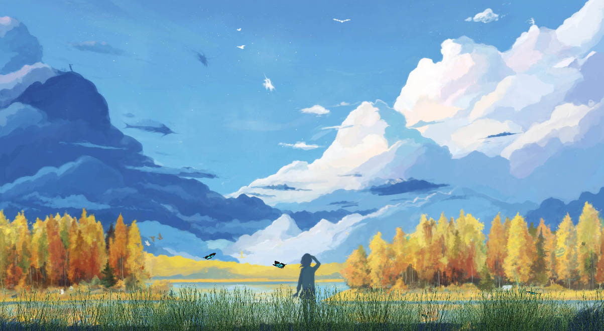 Manga Landscapes Animated Wallpaper
